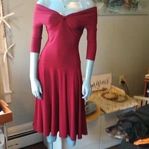Anthropologie Dresses - Designer Deep Cool Red Fit and Flare Pleated Midi